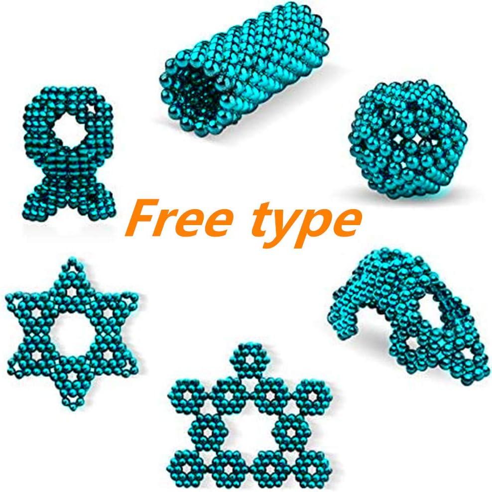 SUU Magnet Balls 216 Pieces 5 MM Beads Tactile Cube Great Gadget Office Creative Portable Toys Sculpture Building Blocks Light Blue