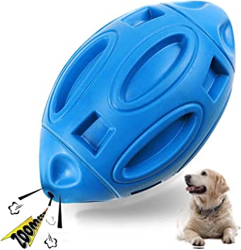 Light blue Bosixty Tough Dog Toy for Aggressive Chewers Squeaky Dog Toys for Medium and Large Breed Almost Indestructible Dog Chew Toys for Rubber Puppy Chew Ball with Squeaker