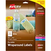 """Avery Wraparound Labels with Sure Feed for Laser & Inkjet Printers, 1.25"""" x 9.75"""", 40 Labels (22845), White"""