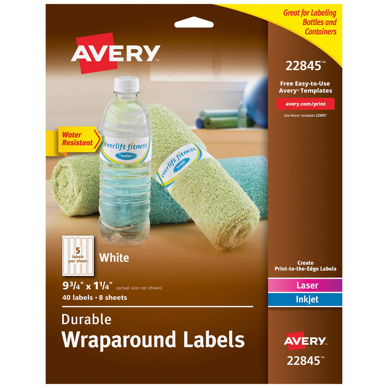 "Avery Wraparound Water Bottle Labels for Laser & Inkjet Printers, 1.25"" x 9.75"", 40 Labels (22845)"