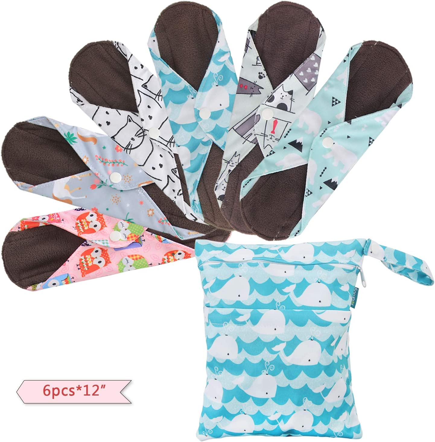 Teamoy 6Pcs 12 Inch Reusable Sanitary Pads, Cloth Menstrual Pads Washable Period Pads with Charcoal Bamboo Absorbency Layers, Fit for General Flow (Cute Whale, Large)
