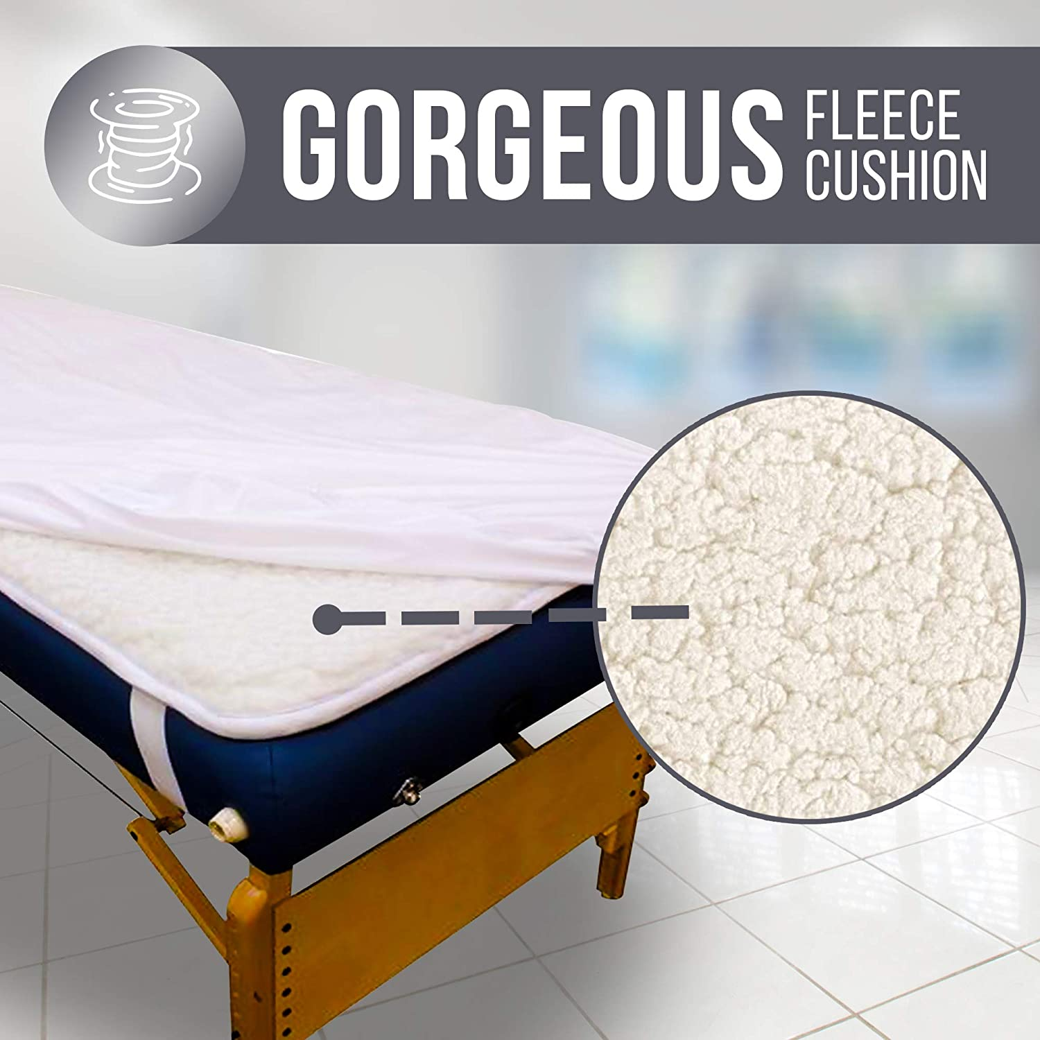 Massage Table Warmer 30 x 73 inches with 3 Heat Settings - Massage Table Heating Pad with 13 Ft Cord - Thick & Soft Sherpa Fleece Massage Bed Warmer with Overheat Safeguard System, White : Beauty