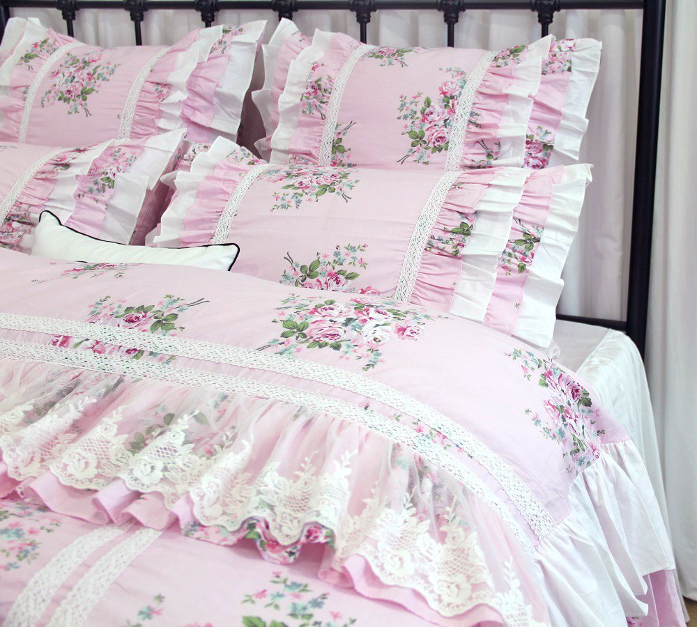 Pink Roses Floral Duvet Cover Luxury Lace Girls Bedding Set