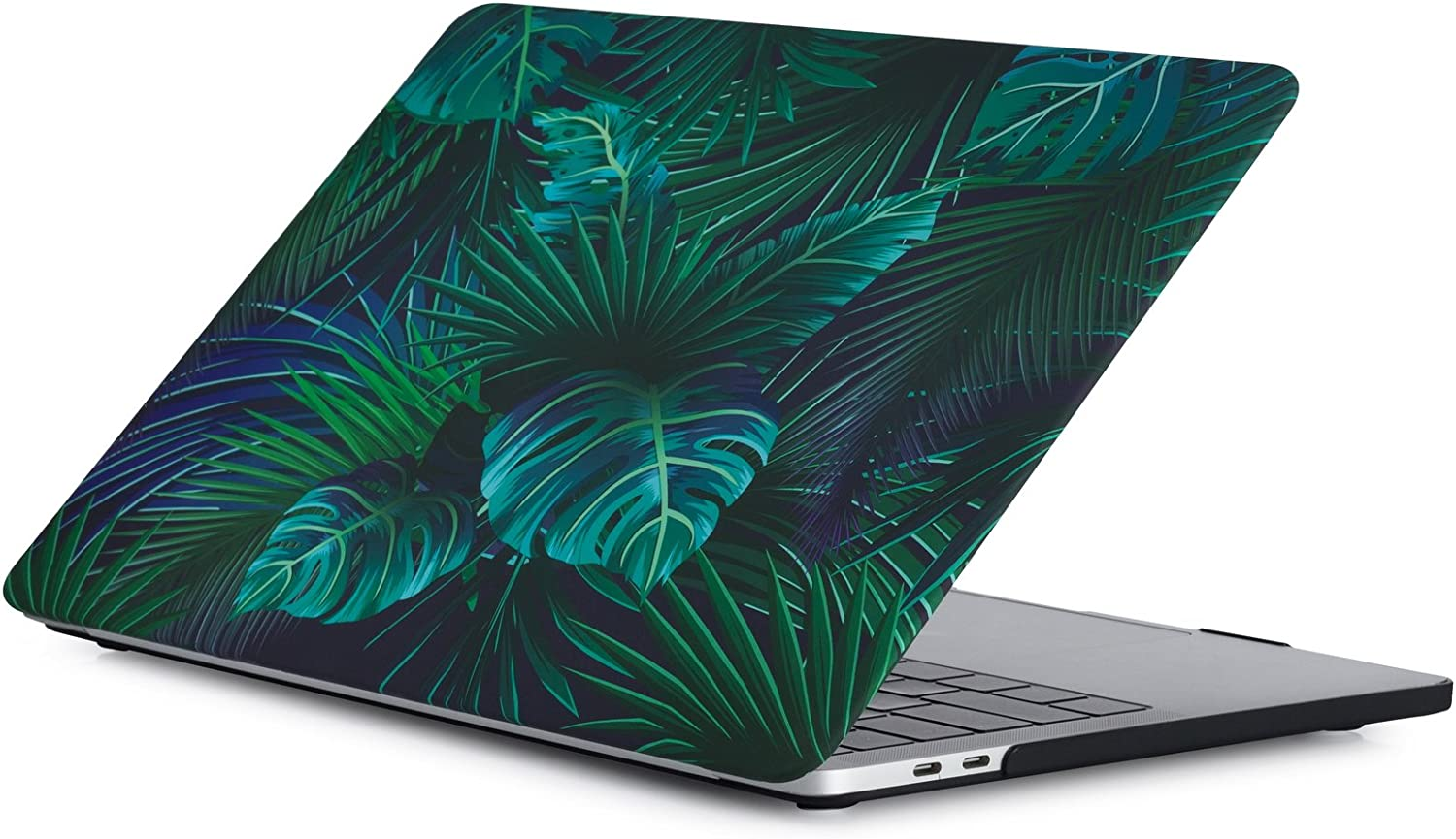 MacBook Pro 15 Inch Case A1990/A1707 (Release 2019/2018/2017/2016), iZi Way Tropical Plant Wide Leaf Design Flexible Hard Shell Case Cover for Mac Pro 15 with Retina Display & Touch Bar - Palm Leaves