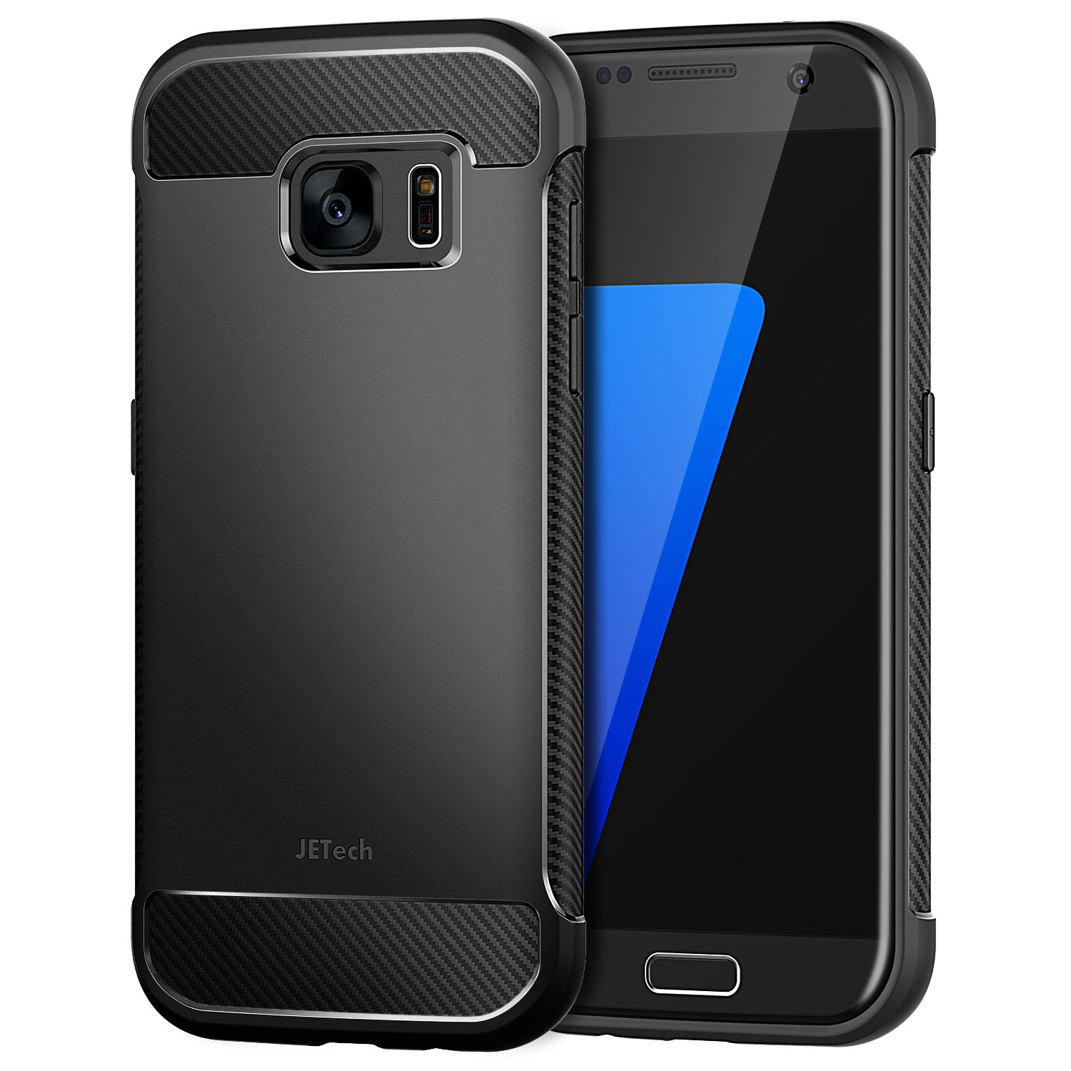 JETech Case for Samsung Galaxy S7, Protective Cover with Shock-Absorption and Carbon Fiber Design, Black 3442-CS-S7-Armor-BK