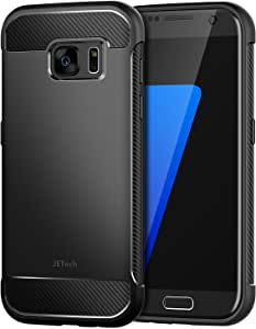 JETech Case for Samsung Galaxy S7 Protective Cover with Shock-Absorption and Carbon Fiber Design, Black