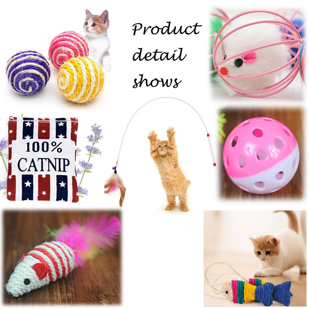 Legendog Cat Toys, 10 Pcs Kitten Toys Cat Toys for Indoor Cats Kitten Interactive Mouse Toys Set for Kitty and Cats - Best Gift for Cat