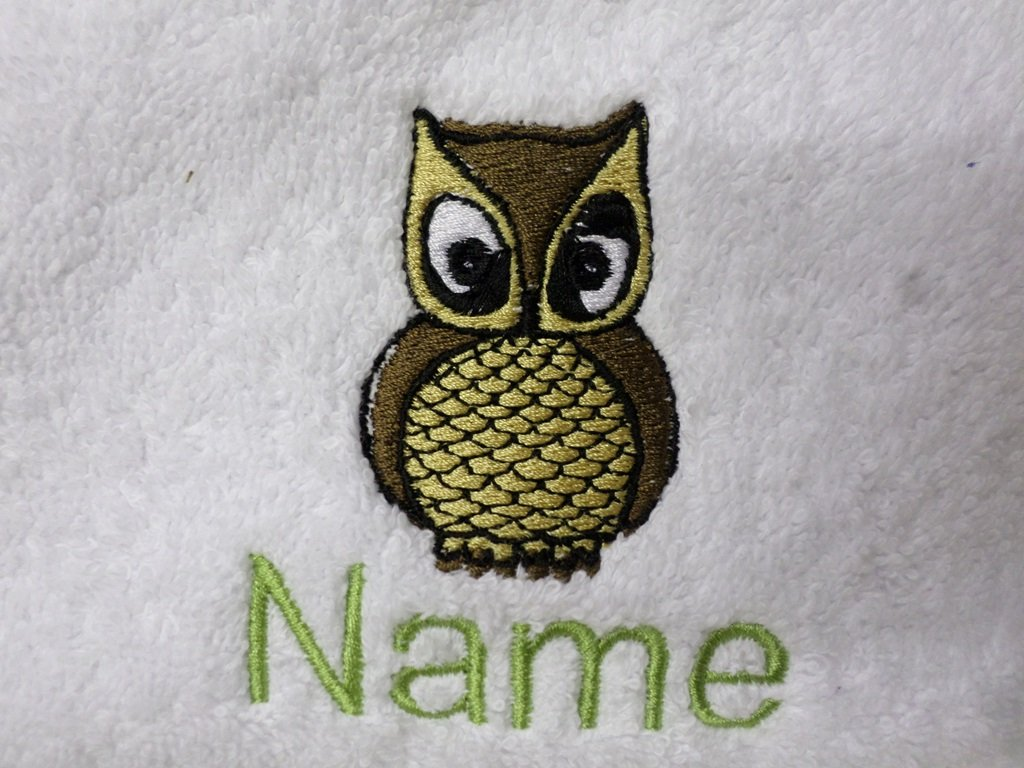 Face Cloth, Hand Towel, Bath Towel or Bath Sheet Personalised with LITTLE OWL logo and name of your choice (Face Cloth 30x30cm) EFY