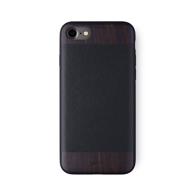 iATO iPhone 7 / 8 Case Genuine Black Saffiano Leather & Real Rose Wood Premium Protective Bumper Unique, Stylish & Classy Wooden Accessory Cover for iPhone 8 / 7