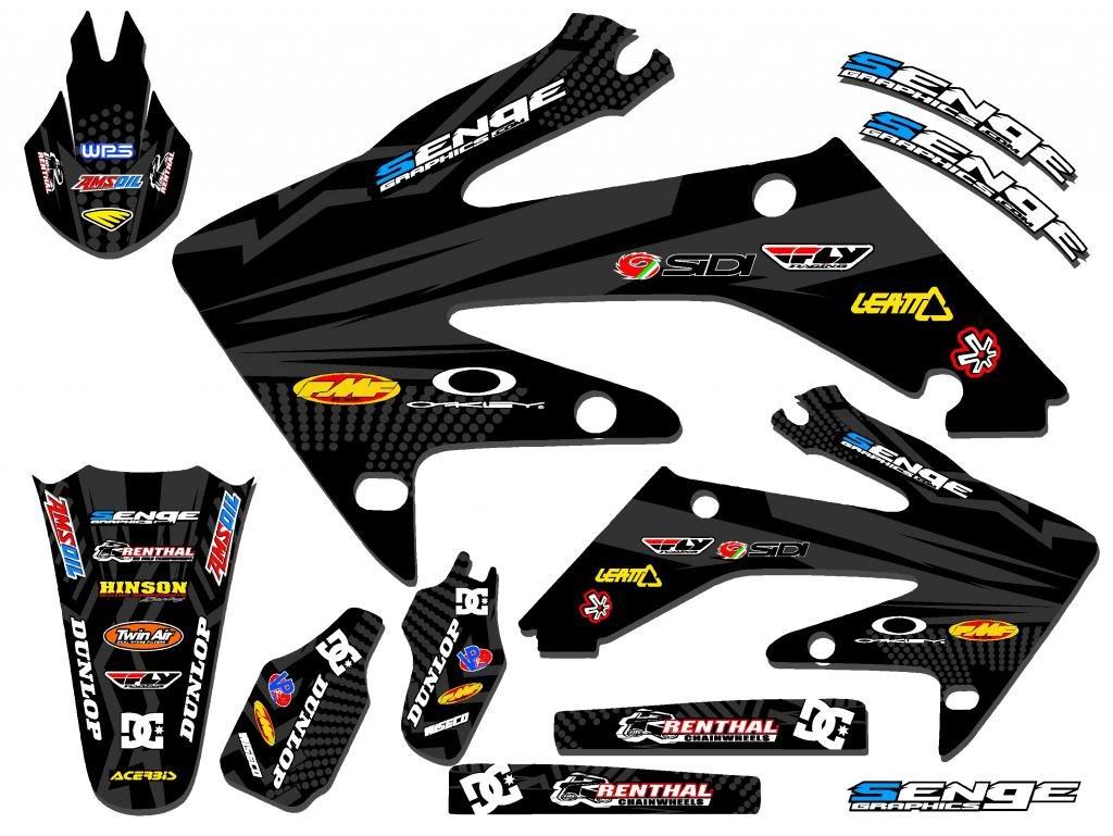 Senge Graphics 2004-2010 Honda CRF 80/100 Mayhem Black Graphics kit