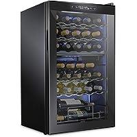 Schmecke 33 Bottle Dual Zone Wine Cooler Refrigerator w/Lock   Large Freestanding Wine Cellar   41f-64f Digital…