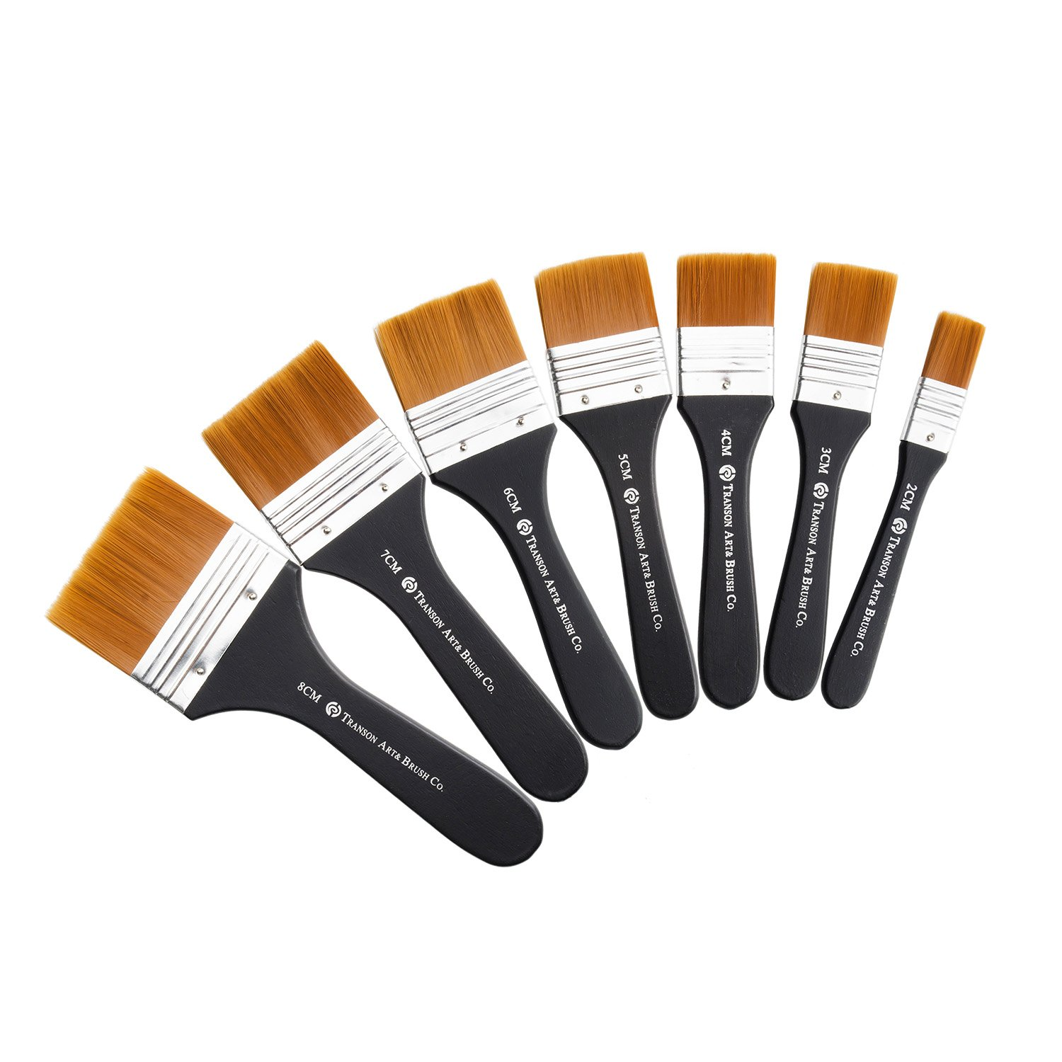 Lightwish Set of 7 Flat Paint Brushes for Applying Gesso, Acrylic paint, Oil paint, Watercolor by Lightwish