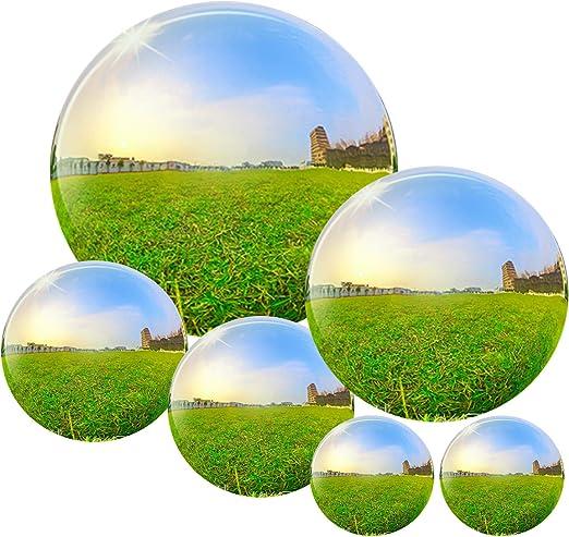Hooggle 6 Bolas de Acero Inoxidable para decoración de jardín, 50 – 150 mm, Bola Hueca Reflectante de jardín: Amazon.es: Jardín