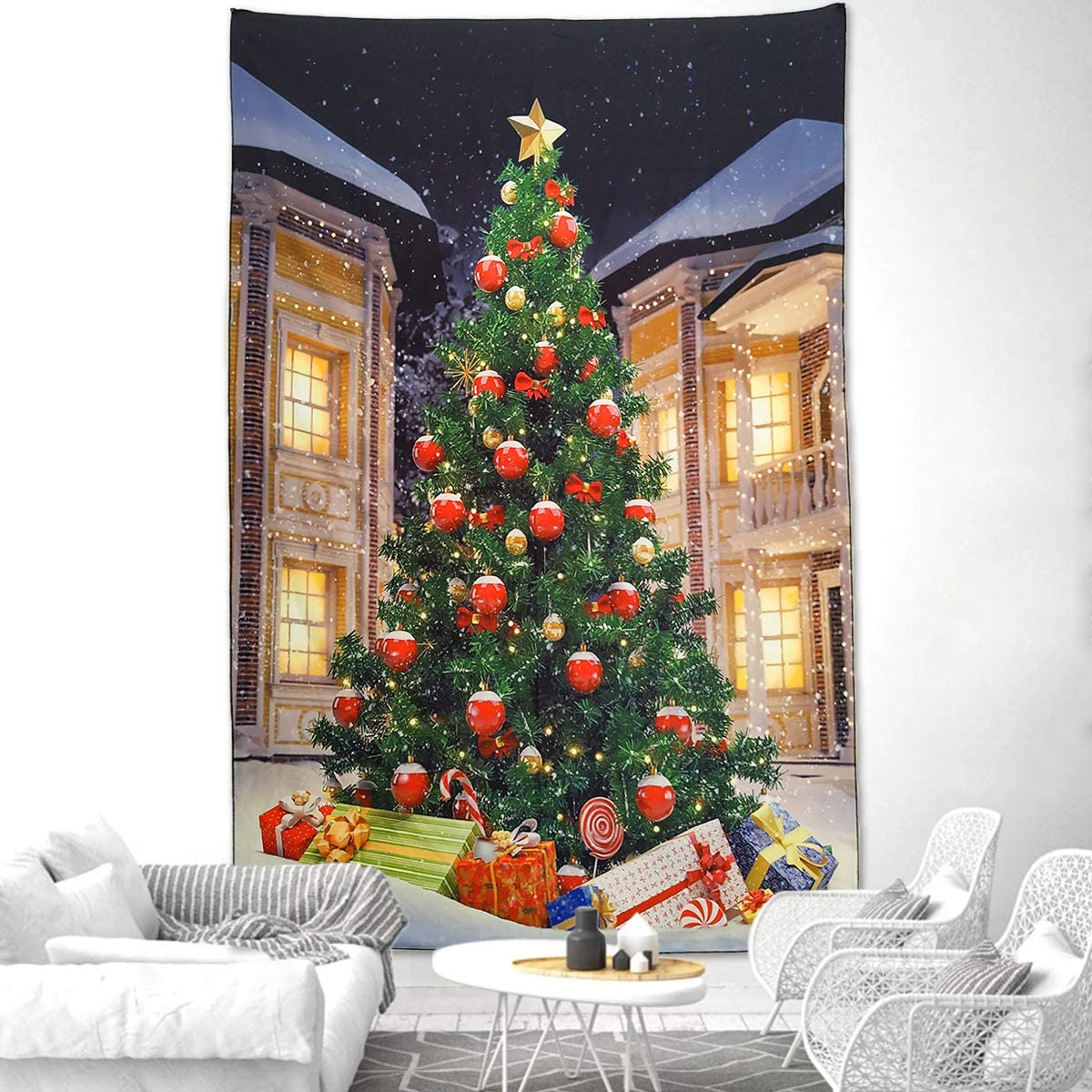 """NASKY Christmas Tree Tapestry Wall Hanging Xmas Tree with Gifts Tapestry Christmas Decorations Winter Festival Wall Tapestry for Home Party Decor(Christmas Tree,39.4""""X59.1""""(100x150cm))"""