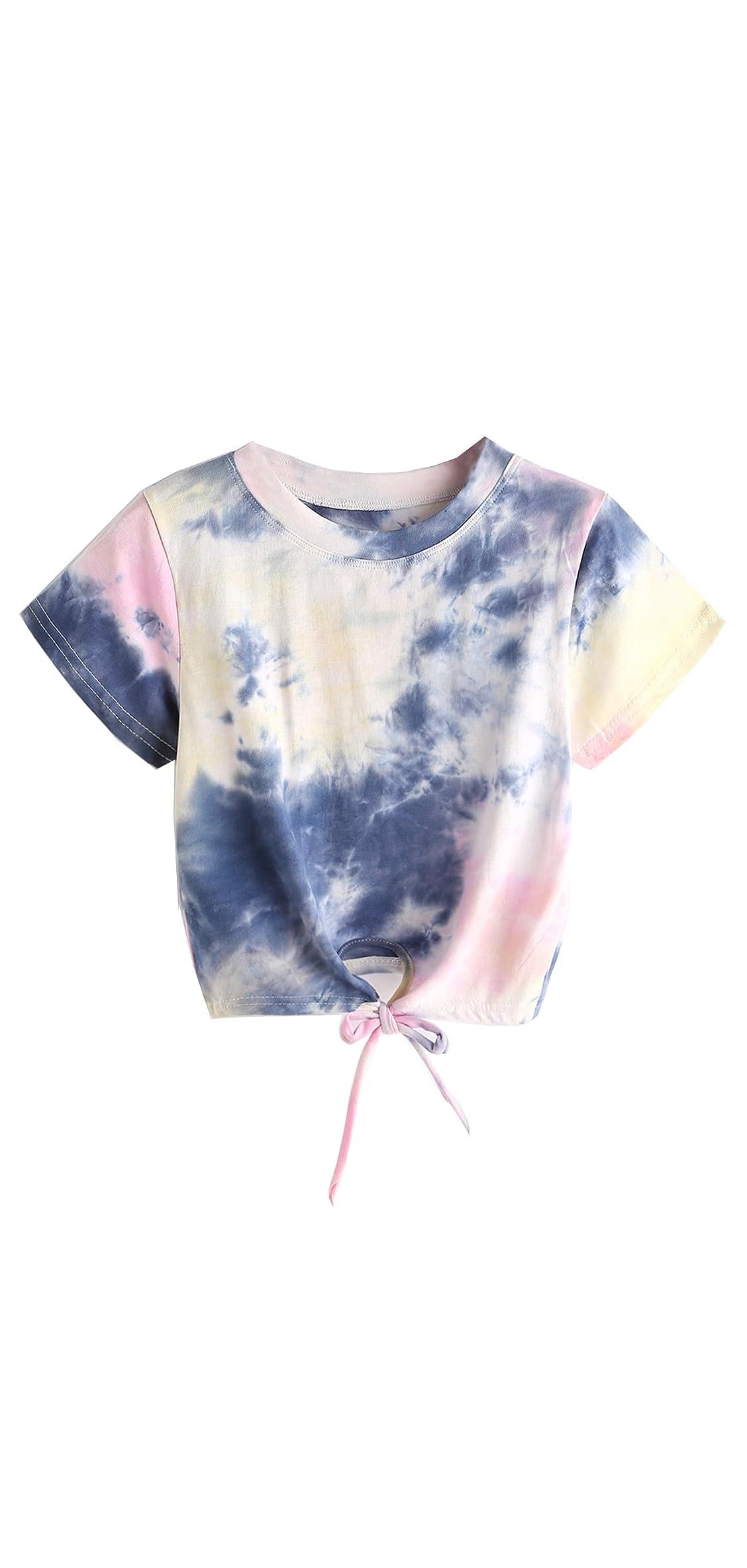 Women's Summer Short Sleeve Crop Top T-shirt Tie Top