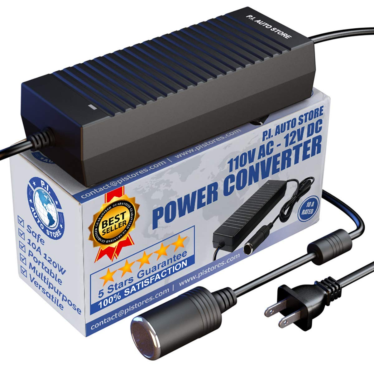 P.I. AUTO STORE - AC to DC Power Converter 110V - 12V 10A 120W. FCC & CE Approved ACDC Adapter use with 12 Volt Air Compressor, Tire Inflator, and Many More Accessories from a Wall Outlet