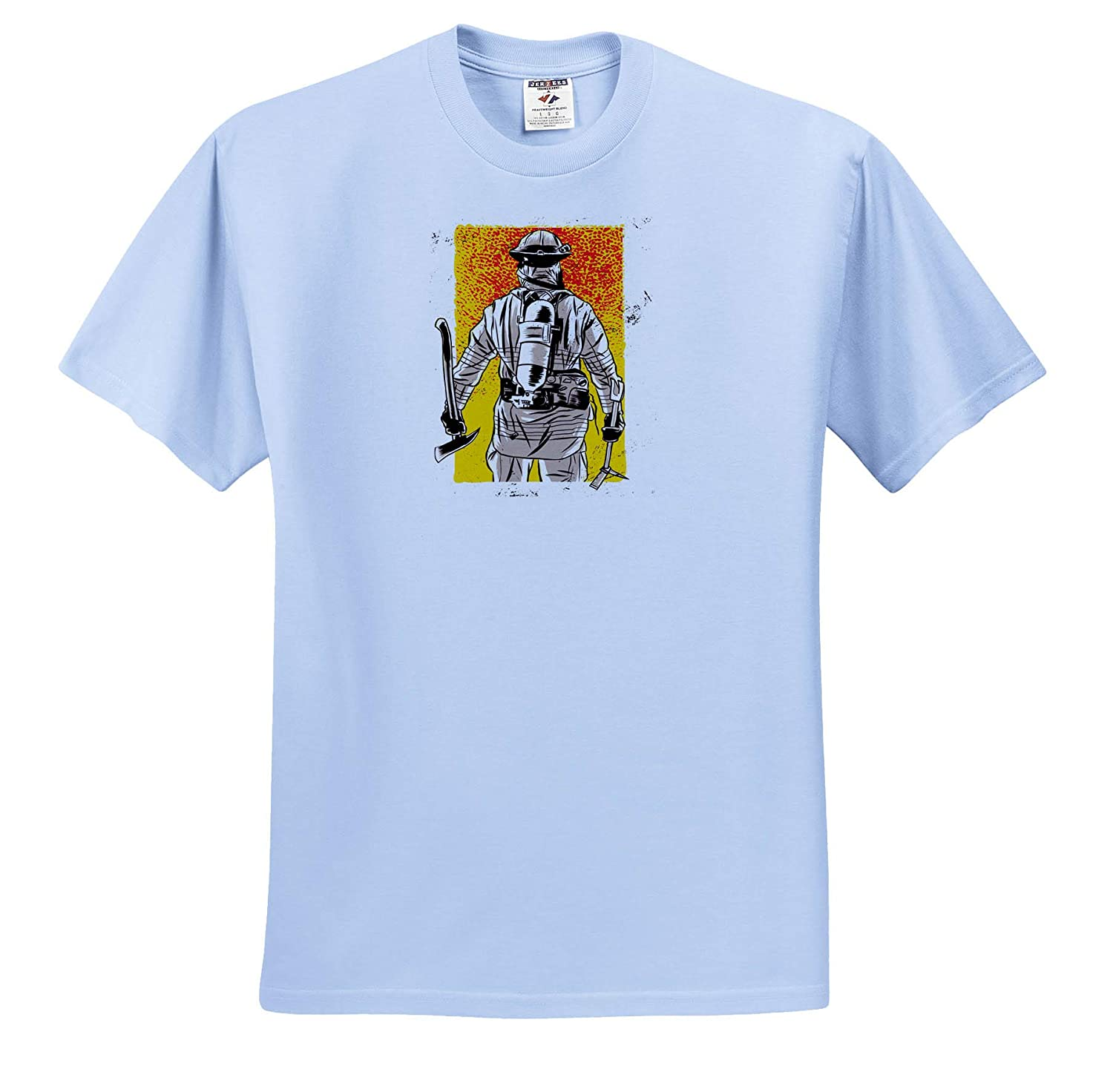 ts/_316103 Fireman Firefighter with Yellow and Red Background 3dRose Sven Herkenrath Job Adult T-Shirt XL