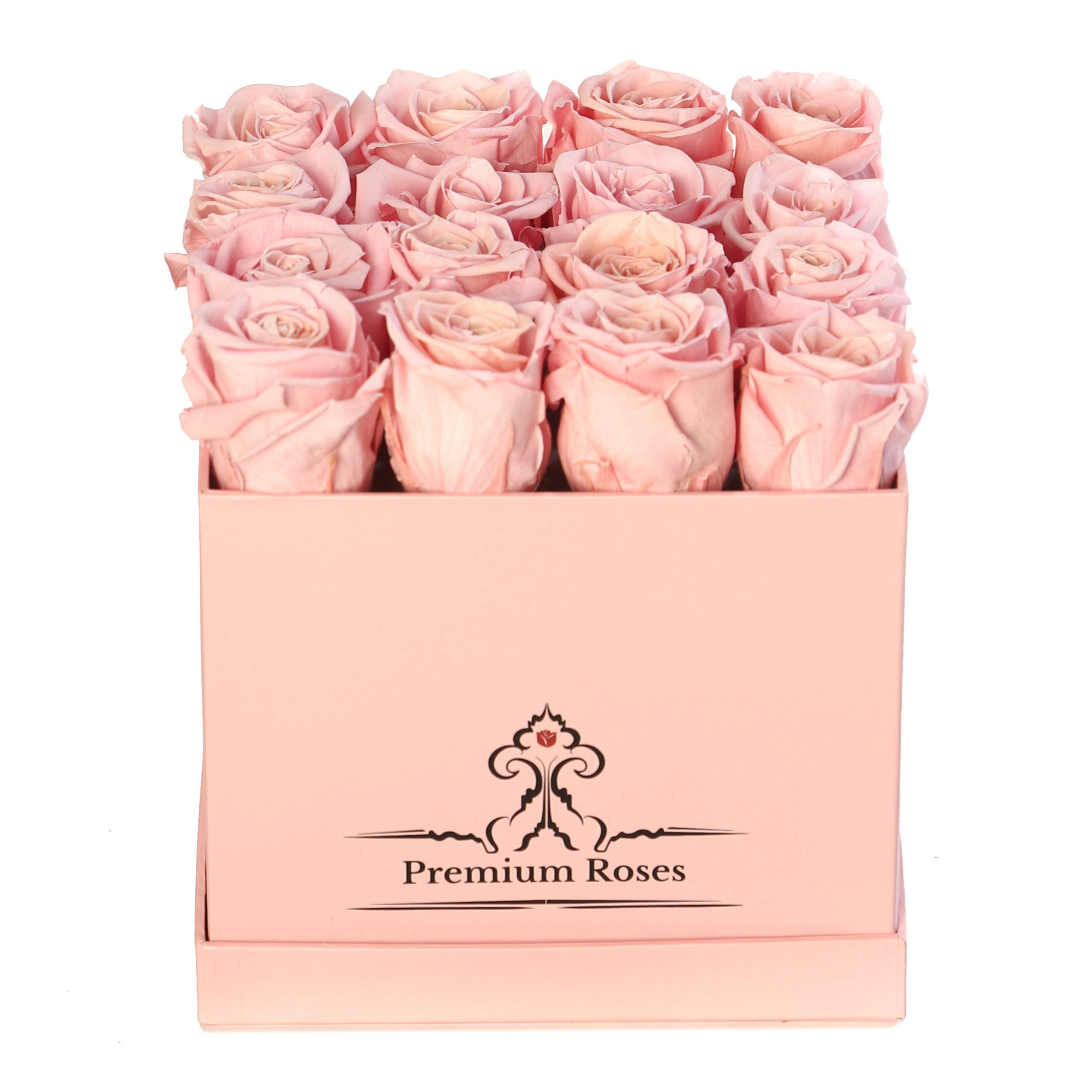 Premium Roses | Model Pink| Real Roses That Last 365 Days | Fresh Flowers| Roses in a Box (Pink Box, Medium)