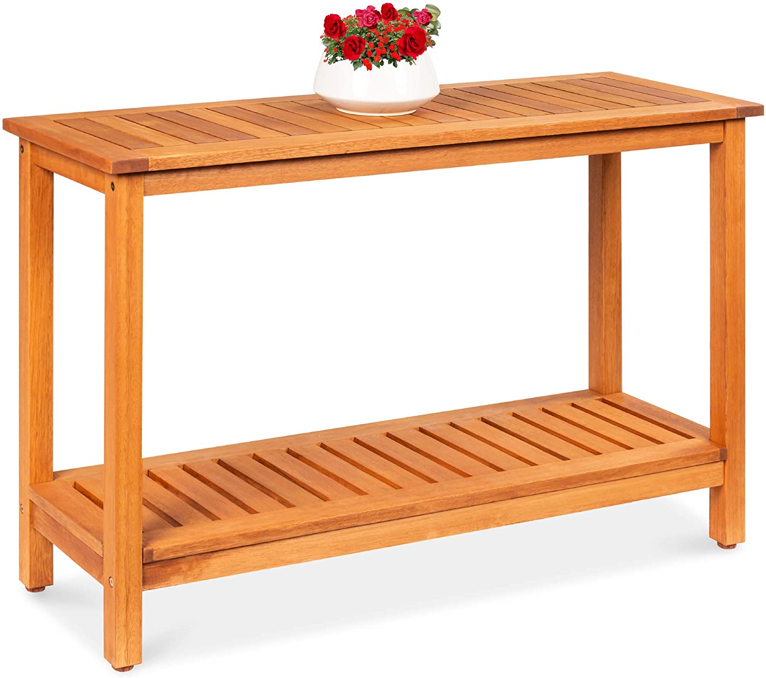 Best Choice Products 48in 2 Shelf Eucalyptus Wood Console Table Indoor Outdoor Multifunctional Buffet Bar Storage Organizer W Natural Finish Sliders Garden Outdoor
