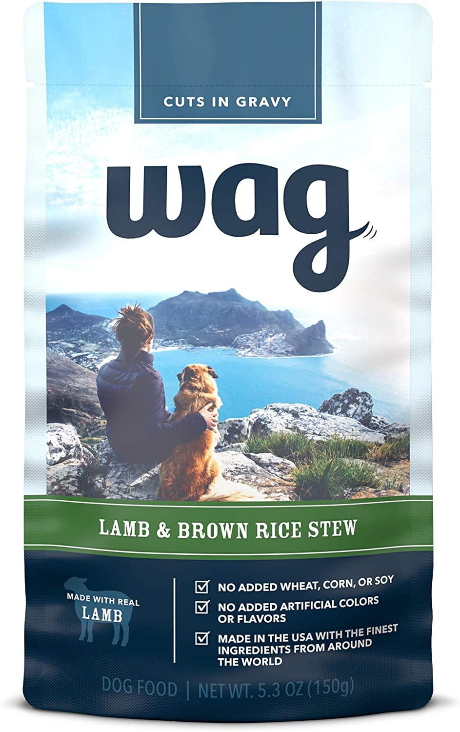 Amazon Brand - Wag Wet Dog Food Topper, Lamb & Brown Rice Stew in Gravy, 5.3 oz Pouches (Pack of 24)