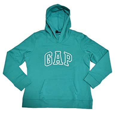 GAP Womens Fleece Arch Logo Pullover Hoodie (Teal 5557bf7fb8