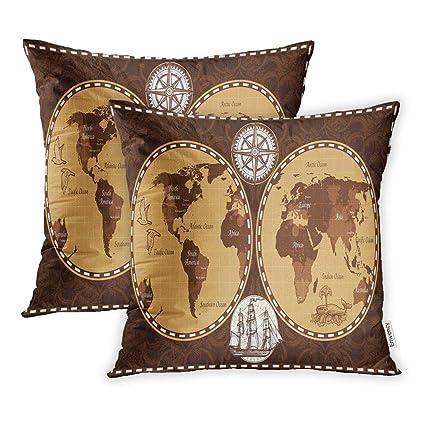 Amazon.com: Emvency Set of 2 Vintage Brown Color Retro ...