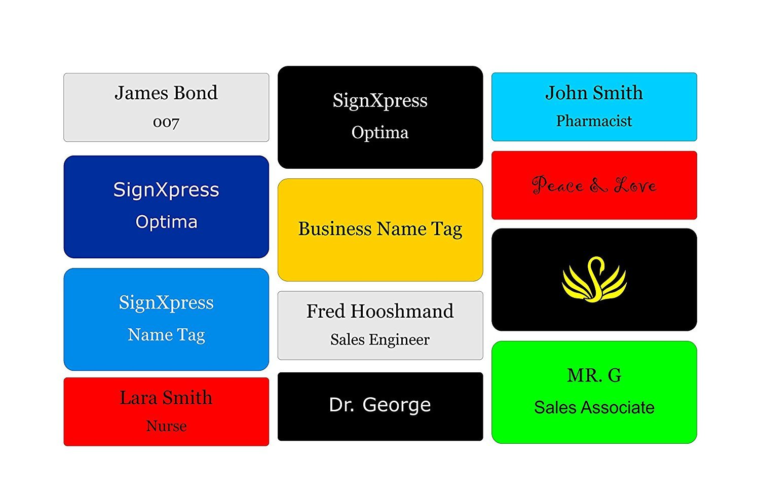 Business Name Tag / ID Badge Personalized with Magnet- Customized Laser Engraved 3 x 1.5 SignXpress Sign Express Eng_2x3