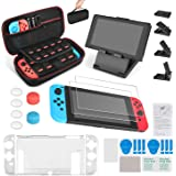 Keten 13 in 1 Accessories Kit for Nintendo Switch Including Carrying Case/Switch Clear Cover Case/Adjustable Stand/Tempered G