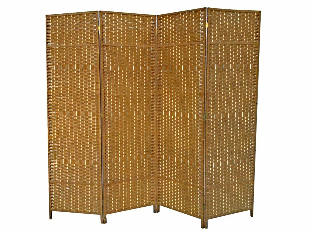 Urnporium Woven 4 Panel Room Divider with Solid Wood Frame Oriental Partition Screen, Tan