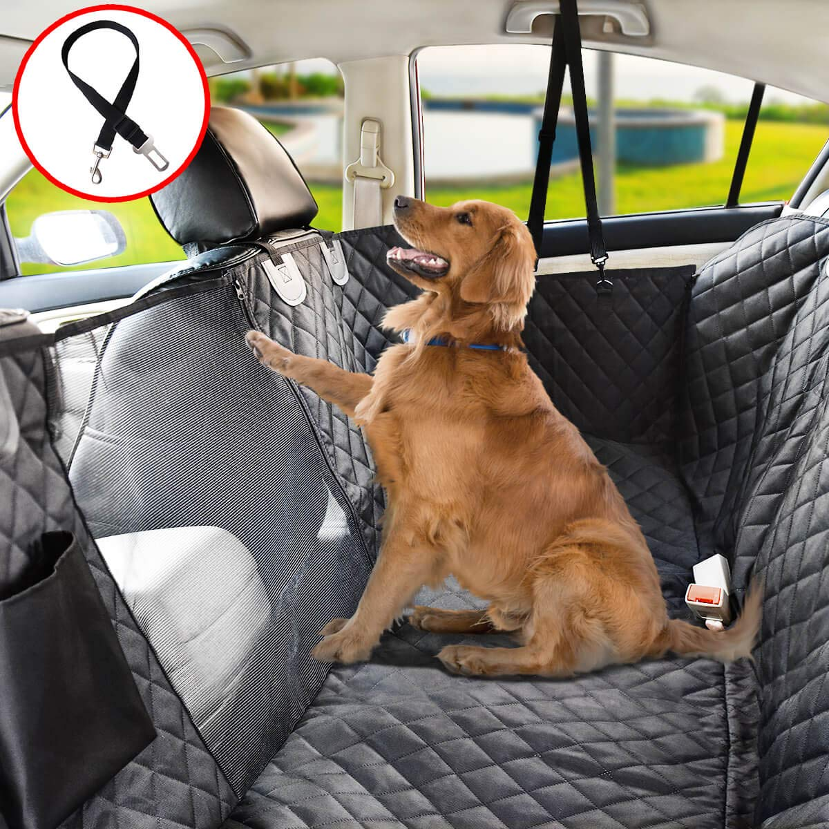 Vailge Dog Seat Cover for Back Seat, 100% Waterproof Dog Car Seat Covers with Mesh Window, Scratch Proof Nonslip Dog Car Hammock, Car Seat Covers for Dogs, Dog Backseat Cover for Cars SUV - Standard by Vailge