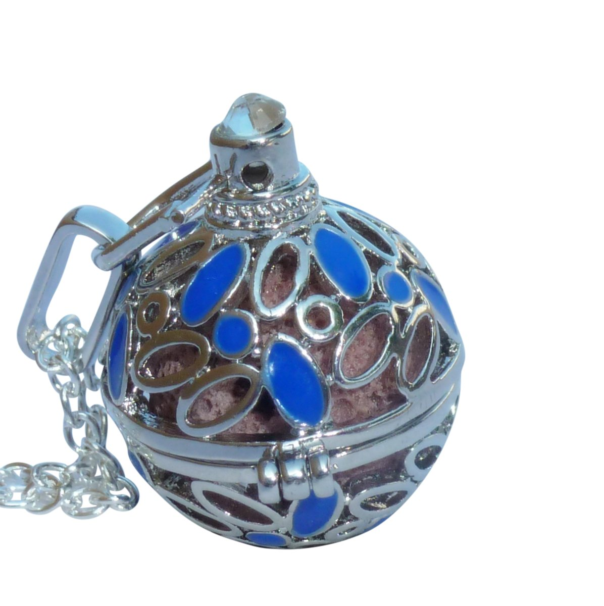 UMBRELLALABORATORY YOur perSOnal STYlish Essential oil necklace Steampunk Blue shiny flowers d2 0