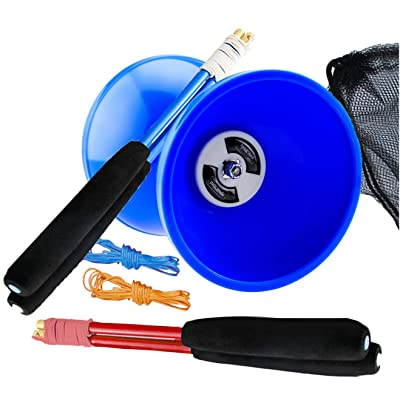 "MAGICYOYO Pro Triple Bearing Medium 5"" Blue Chinese Yoyo Diabolo Toy with 2 Pair Carbon Sticks+ 2 Extra Strings +1 Net Bag, High Performance Chinese Yoyo Diabolo Skill Toy: Toys & Games"