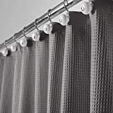 mDesign Hotel Quality Polyester/Cotton Blend Machine Washable Fabric Shower Curtain with Waffle Weave and Rust-Resistant Meta