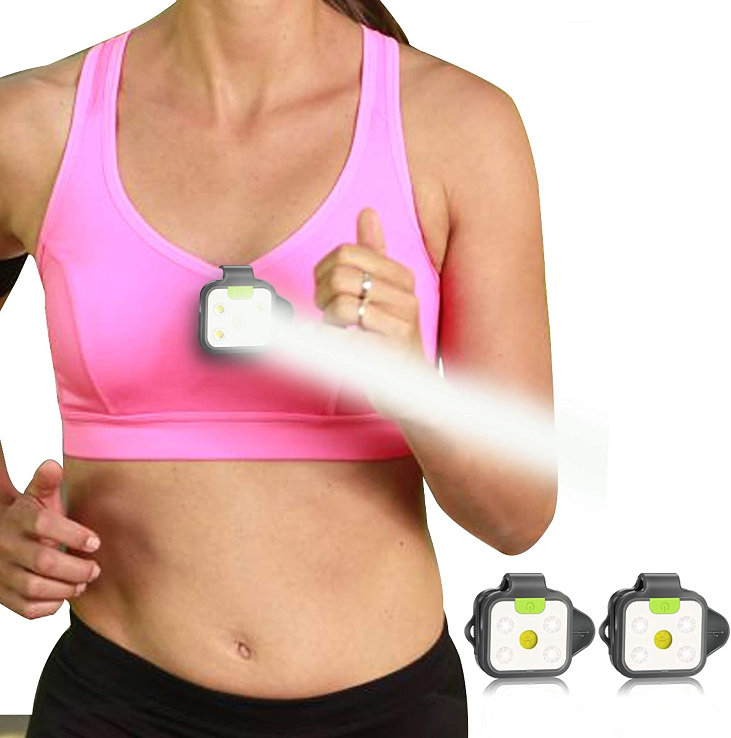 Image of a woman in sportswear with LED running light attached to her shirt.