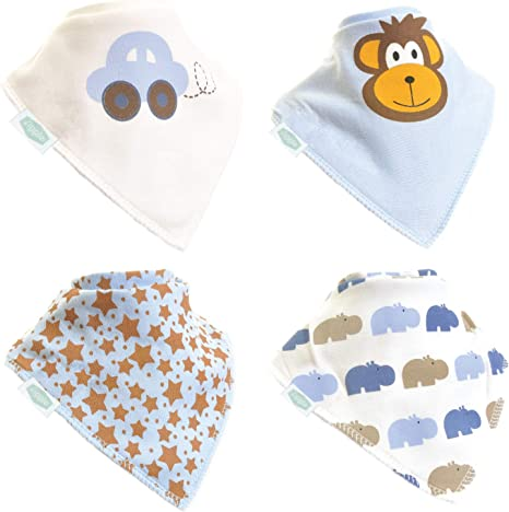 Zippy - Juego de 4 baberos para bebes, estilo bandana, 100% algodón absorbente, con correas ajustables: Amazon.es: Bebé
