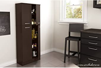 Bon Elegant Tall 4 Door Storage Pantry With 3 Adjustable Shelves In 2 Separated  Storage Spaces