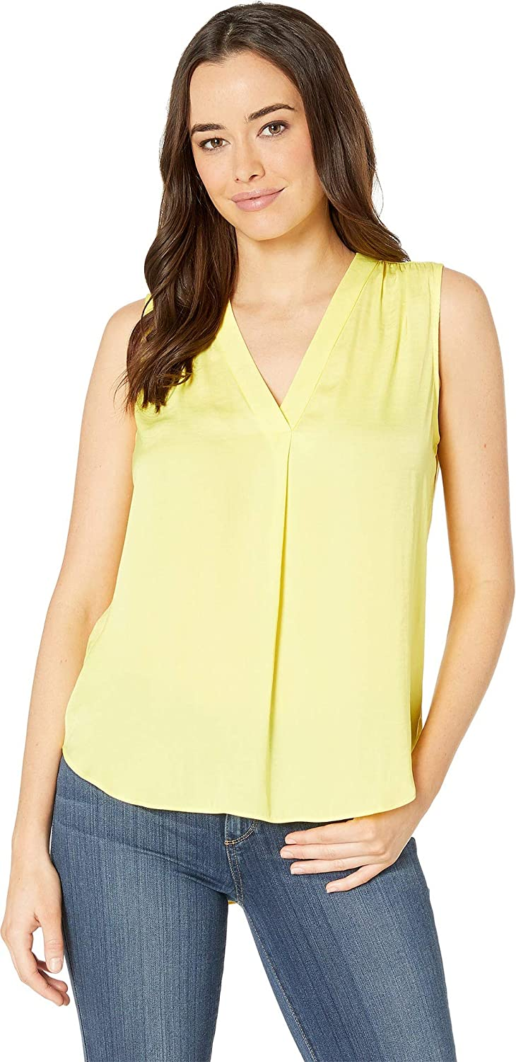Blazing Yellow Vince Camuto Women's Sleeveless VNeck Rumple Blouse