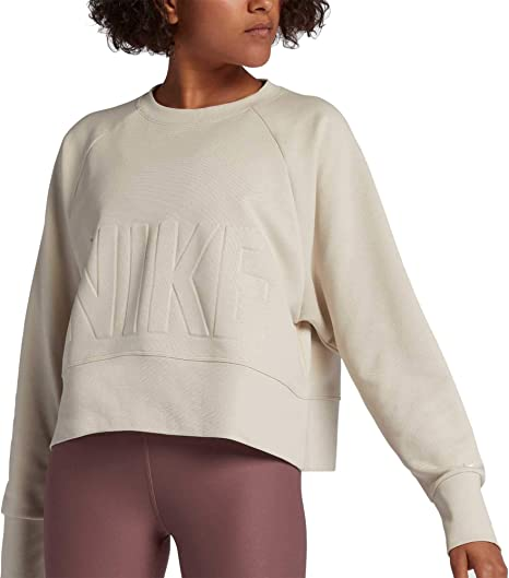 e6dc4fac Nike Women's Dri-FIT Cropped Training Pullover (Desert Sand/White, Large)