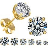 Amazon Price History for:GEMSME 18K White Gold Plated Round Cubic Zirconia Stud Earrings Pack of 6