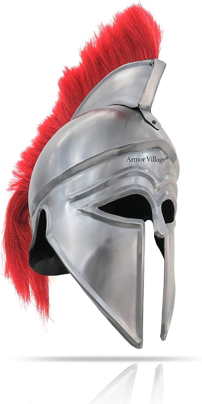 Copper Coated 18 Guauge Steel Medieval Greek Corinthian Helmet With Red Plume