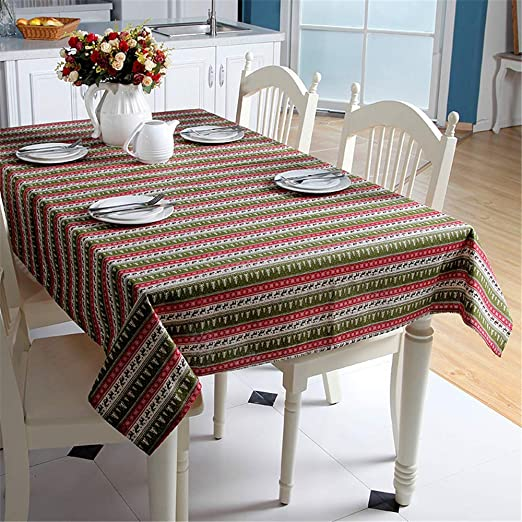 SONGHJ Algodón de poliéster Mantel de Navidad Rectángulo Mantel Rojo Decoración del hogar Árbol de Navidad Elk Fiesta de Halloween Cubierta de Mesa B 140x180cm: Amazon.es: Hogar