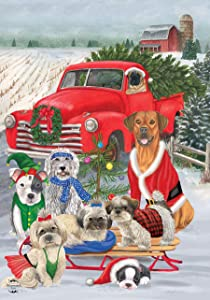 "Briarwood Lane Holiday Dogs Christmas Garden Flag Pickup Truck Humor 12.5"" x 18"""