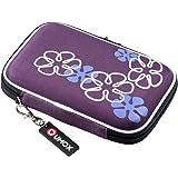 "QUMOX Purple (Flower) 2.5"" HDD Bag Hardcase for Portable Hard Disk Drive Case"