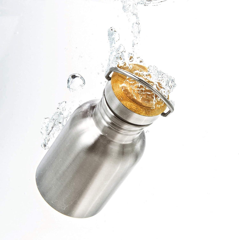 Borraccia Acciaio Inox Termica 350 ml per Bambini con Coperchio in Legno di bamb/ù Pure Design