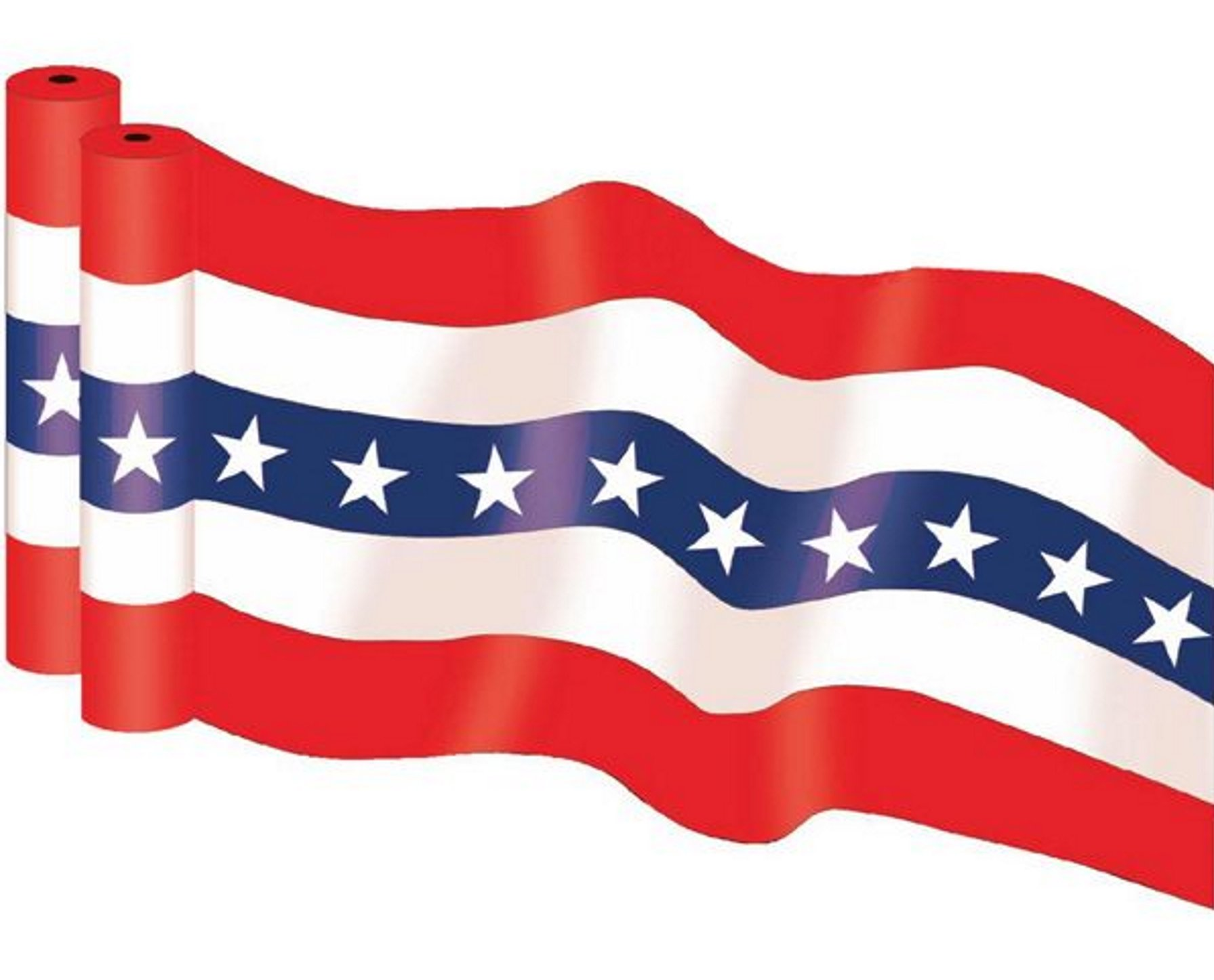 36'' X 300' HEAVY DUTY 2.5 mil Patriotic Print Plastic Bunting Roll