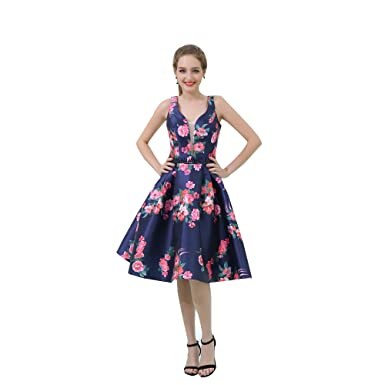 a1f2e2d075b Image Unavailable. Image not available for. Color  YSMei Women s Short  Floral Print V Neck Evening Prom Dress Knee-Length Homecoming Party Gowns