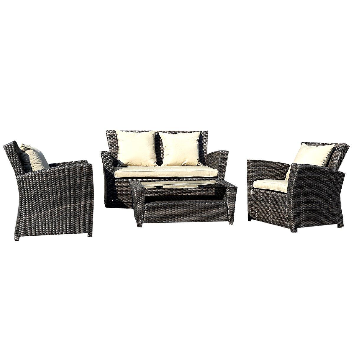 rattan lounge set polyrattan sitzgruppe rattanm bel. Black Bedroom Furniture Sets. Home Design Ideas
