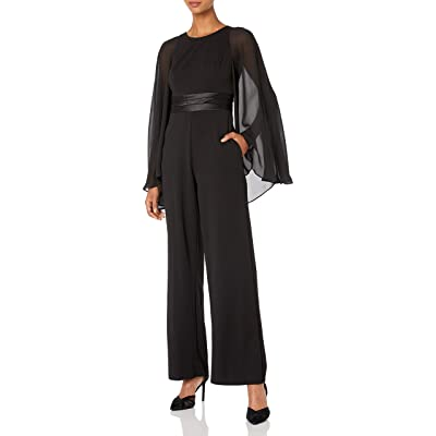 Adrianna Papell Women's Long Cape Sleeve Jumpsuit: Clothing