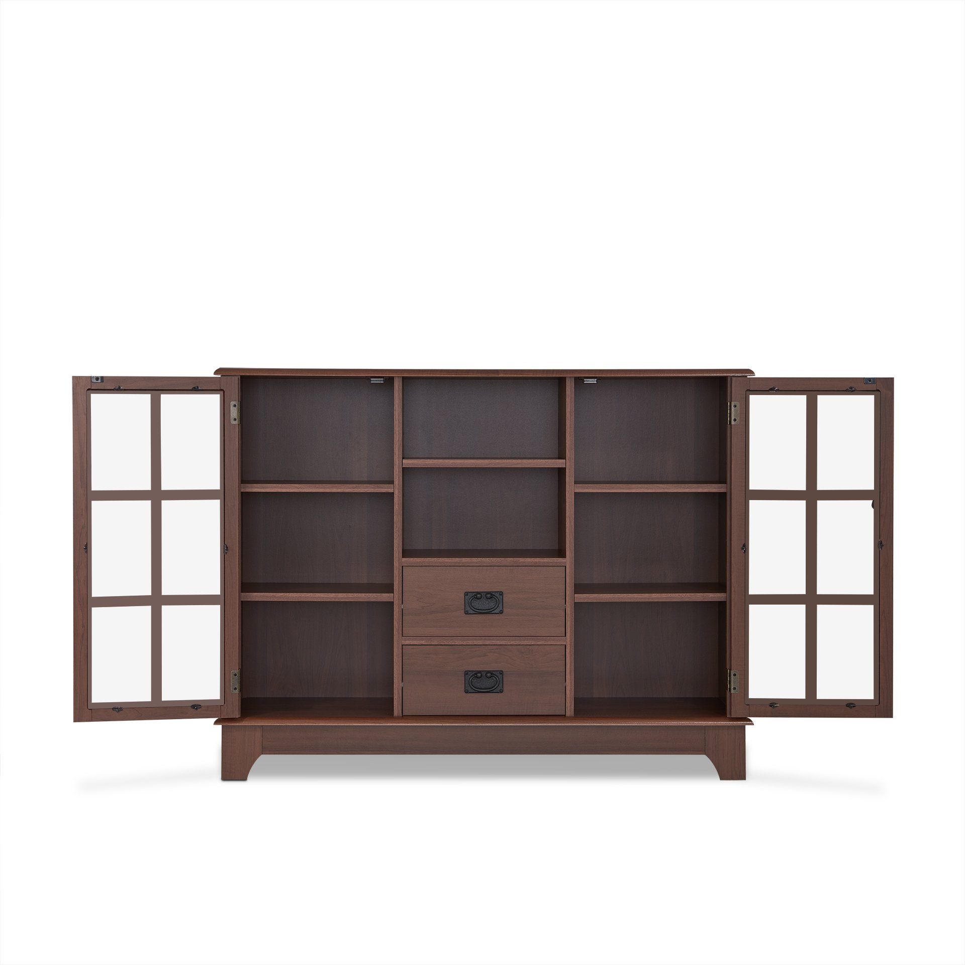 ComfortScape Wooden Console Table with Storage & Tempered Glass Door, Walnut