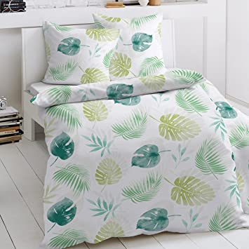 Traumschlaf Feinbiber Bettwäsche Blätter Grün 135x200 Cm 80x80 Cm
